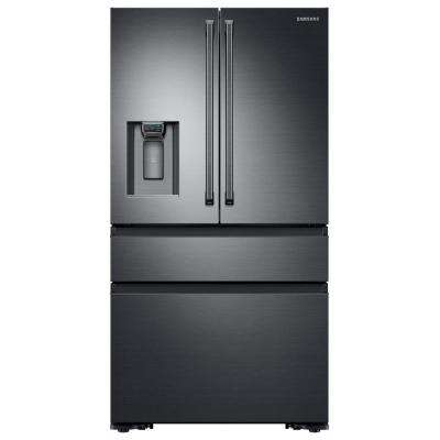 22.6 cu. ft. 4-Door French Door Refrigerator with Polygon Handle in Black Stainless Steel, Counter Depth