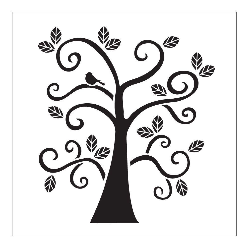 Printable Tree House Plans: FolkArt Curly Tree Small Painting Stencils-30610