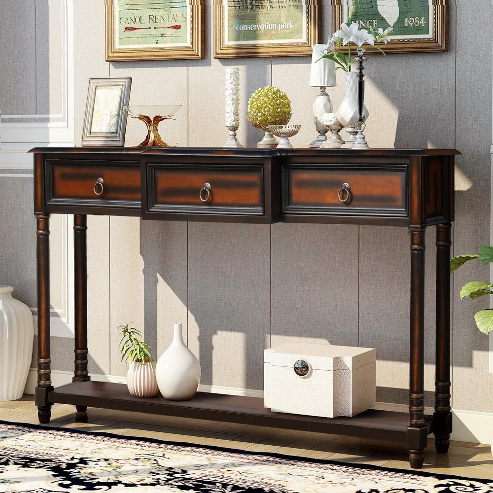 Harper Bright Designs 52 In Espresso Standard Rectangle Wood Console Table With 3 Drawers Wf189574aab 1 The Home Depot