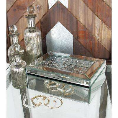 Modern Rectangular Mirrored Jewelry Box with Lid