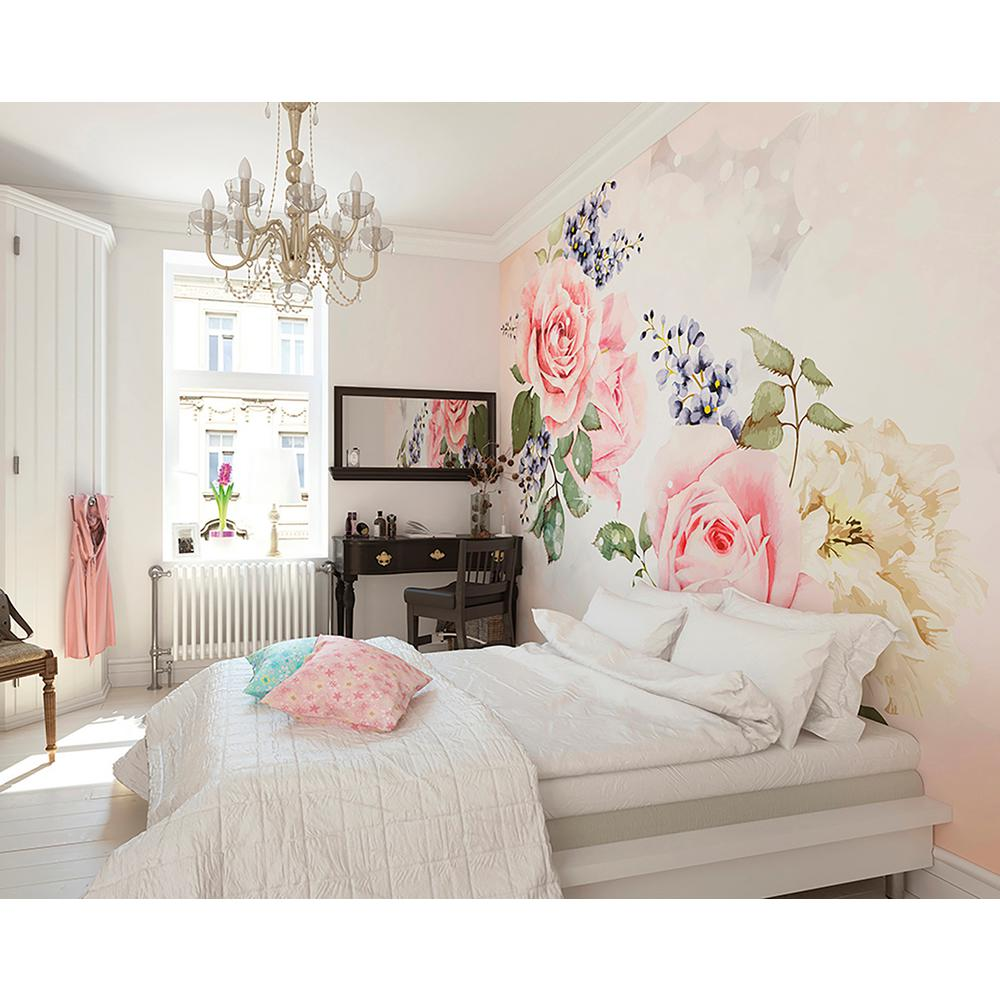 1 Bedroom Apartment Decorating Bedroom Ceiling Art Images Of Bedroom Paint Ideas Bedroom Background Cartoon: Brewster Roses And Sparkles Wall Mural-WALS0202