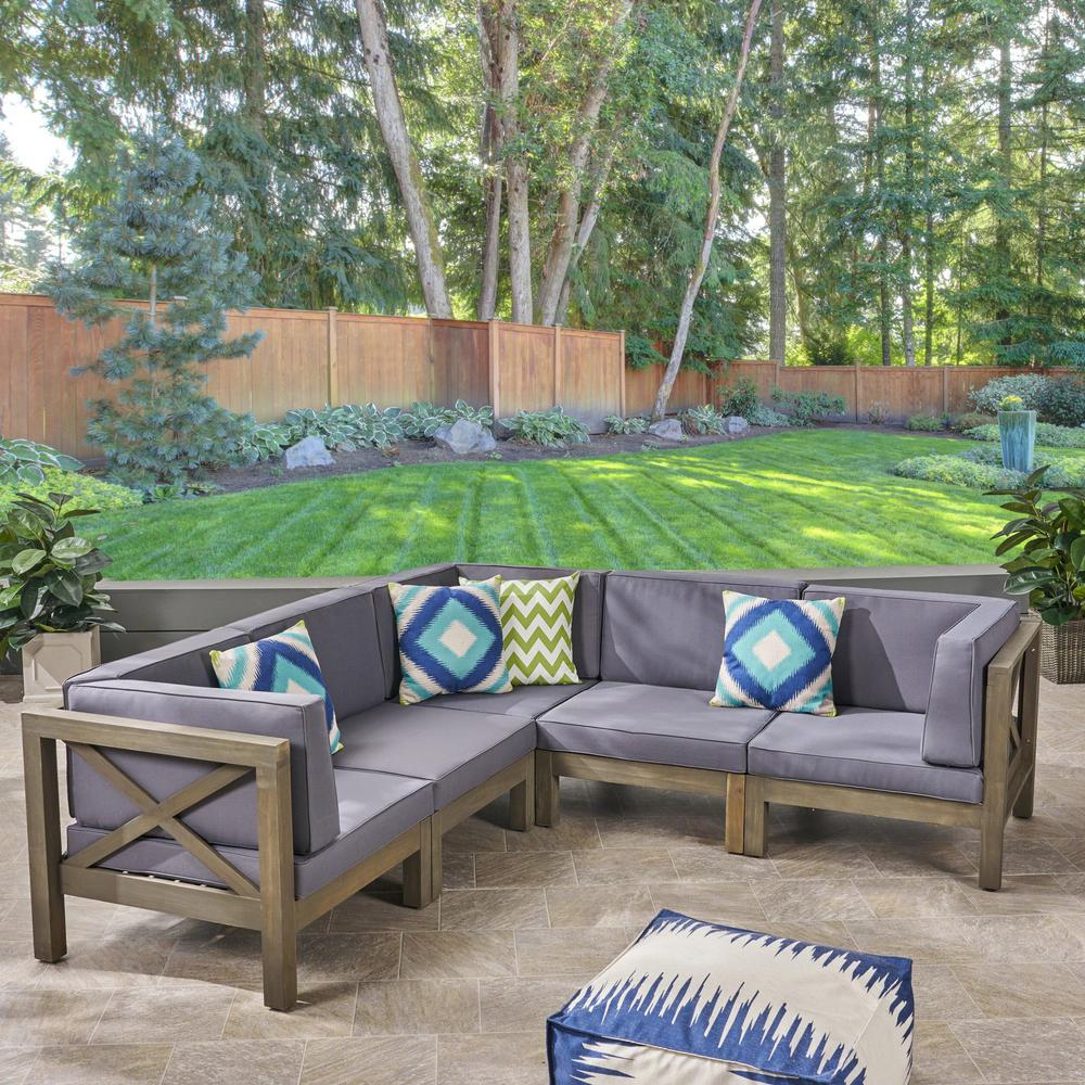 Hadlee Gray 5-Piece Wood Outdoor Sectional with Dark Gray Cushions