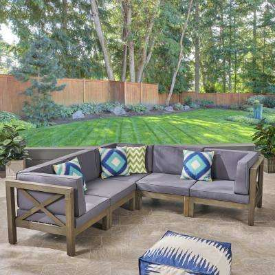 Hadlee Gray 5 Piece Wood Outdoor Sectional With Dark Gray Cushions