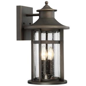 Highland Ridge Collection 4-Light Oil Rubbed Bronze with Gold Highlights Outdoor Wall Lantern Sconce