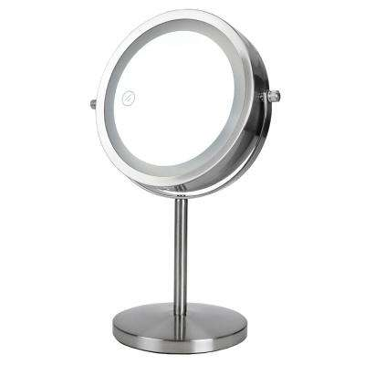 5.3 in x 12.75 in Cosmetic Mirror with LED Light in Satin Nickel