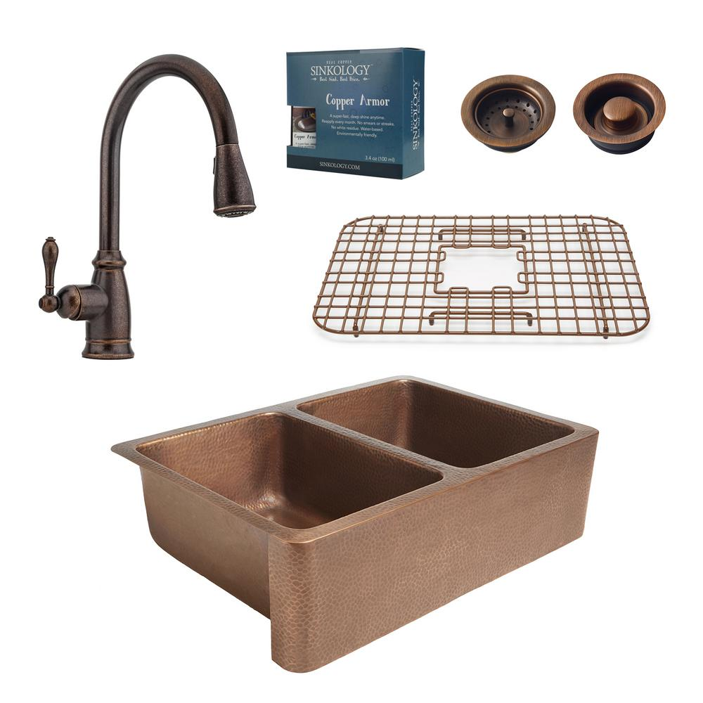 Sinkology pfister all in one farmhouse rockwell copper 33 in kitchen sink design