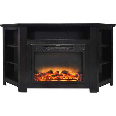 Tyler Park 56 in. Electric Corner Fireplace in Black Coffee with Enhanced Fireplace Display