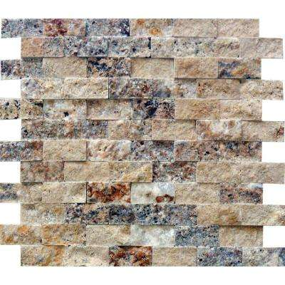 Scabas Splitface 11.4 in. x 10.8 in. x 8 mm Travertine Mesh-Mounted Mosaic Wall Tile (4.3 sq. ft. / case)