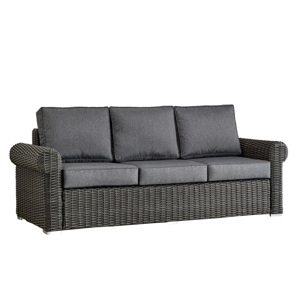 Rolled Arm Wicker Sofa Gray