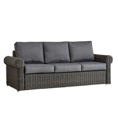 Camari Charcoal Rolled Arm Wicker Outdoor Sofa with Gray Cushion