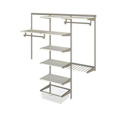 Closet Culture 16 in. D x 72 in. W x 78 in. H Steel Closet System with 7 White Oak Wood Shelves