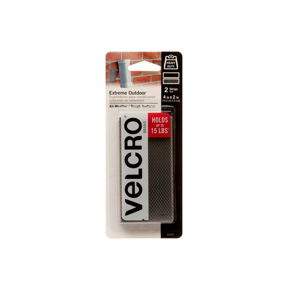 VELCRO Brand 4 in. x 2 in. Industrial Strength Extreme Strip, Titanium