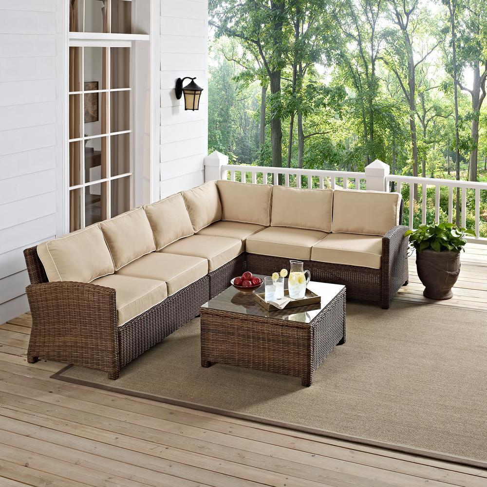 Patio Furniture Bradenton Fl: Bradenton 5-Piece Wicker Outdoor Sectional Set With Sand