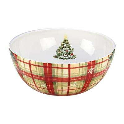 Holiday Wishes by Susan Winget Plaid 10 in. Serving Bowl