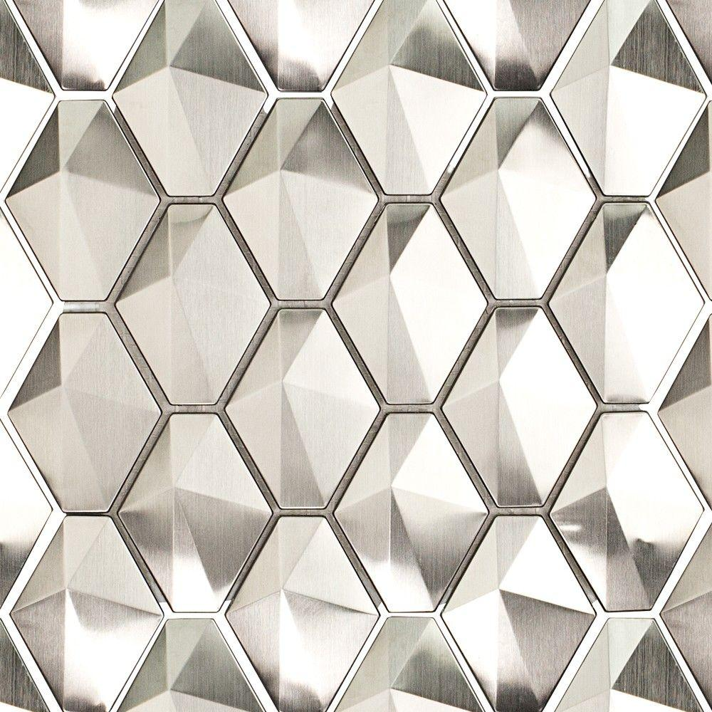 Sample Stainless Steel Metal Pattern Mosaic Tile Kitchen: Ivy Hill Tile Corrie Sierra Polished Stainless Metal Tile