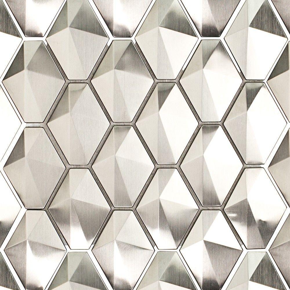 Corrie Sierra Polished Stainless Metal Tile - 3 in. x 6 in. Tile Sample