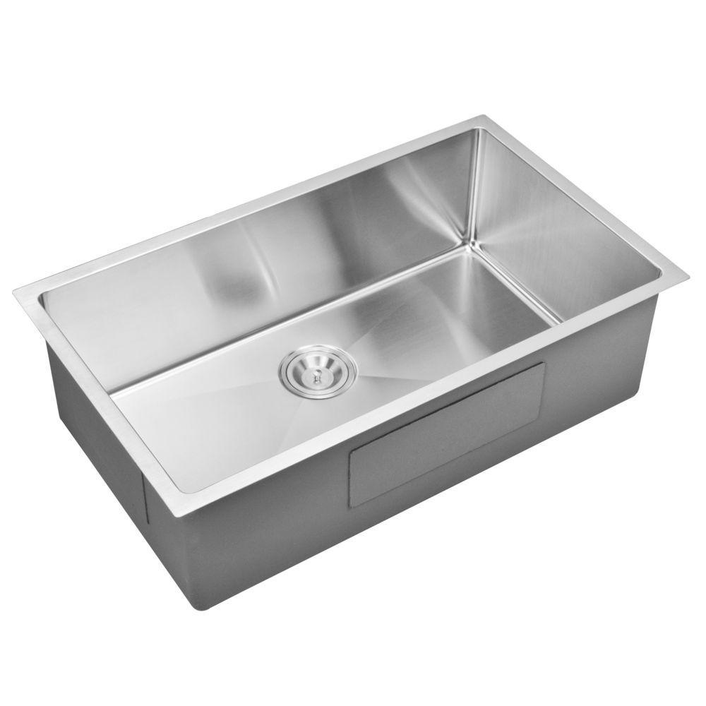 Undermount Small Radius Stainless Steel 32x19x10 0-Hole Single Bowl Kitchen Sink in Satin Finish