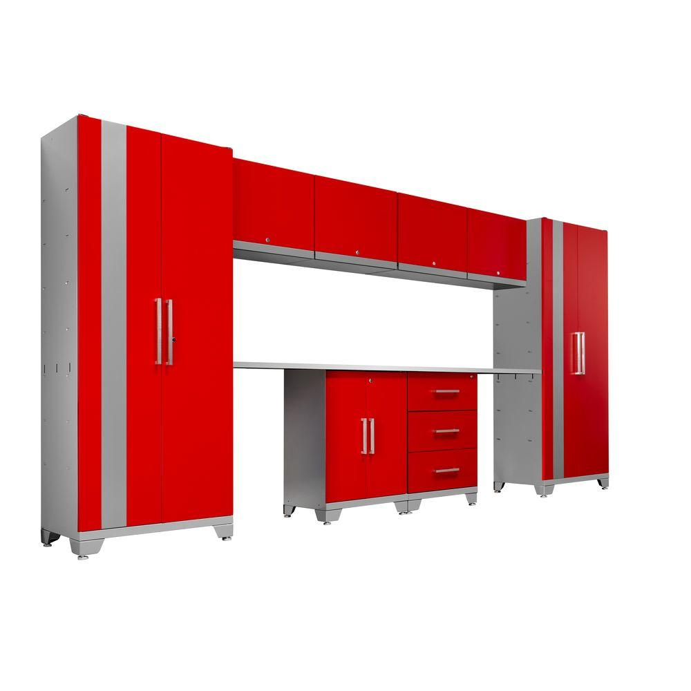 NewAge Products Performance 75 in. H x 156 in. W x 18 in. D Steel Garage Cabinet Set in Red (10-Piece)