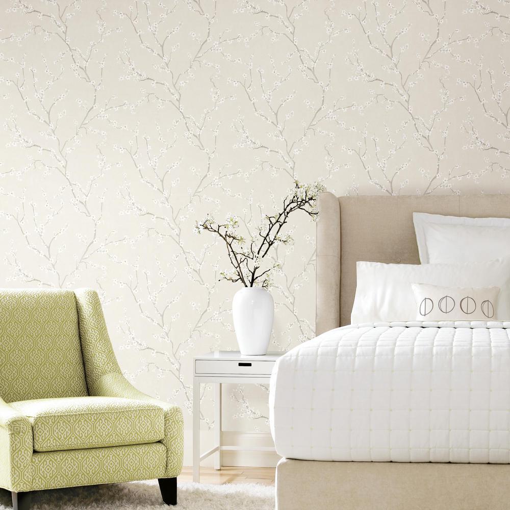 28.18 sq. ft. Beige Cherry Blossom Peel and Stick Wallpaper