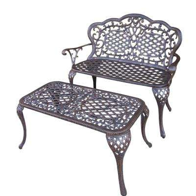 Mississippi Cast Aluminum Loveseat Settee Bench and 35 in. x 18 in. Outdoor Cocktail Table Set