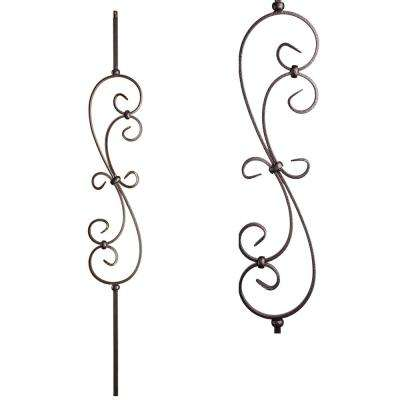 Scrolls 44 in. x 0.5 in. Copper Vein Large Spiral Scroll Hollow Wrought Iron Baluster