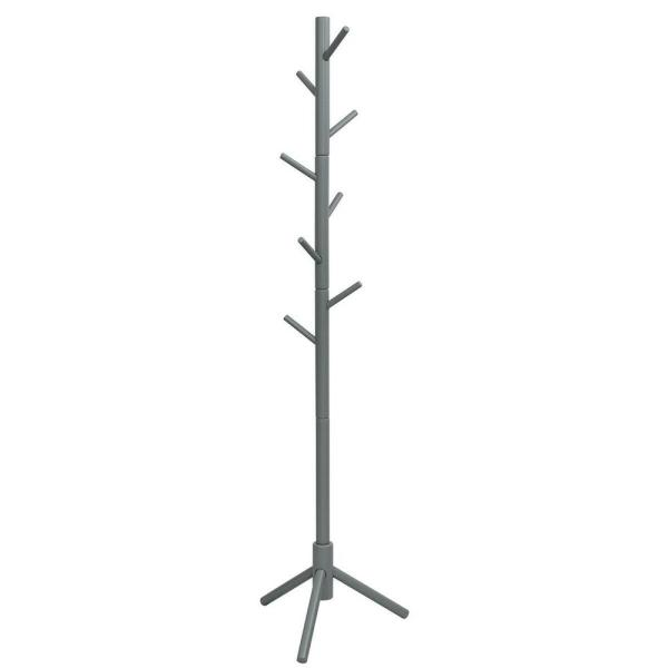 Gray Wooden Coat Rack Stand Hall Tree Entryway Organizer 2-Heights with 8-Hooks