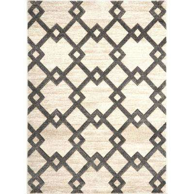 Bazaar Diamond Beige/Gray 5 ft. 2 in. x 7 ft. 2 in. Indoor Area Rug
