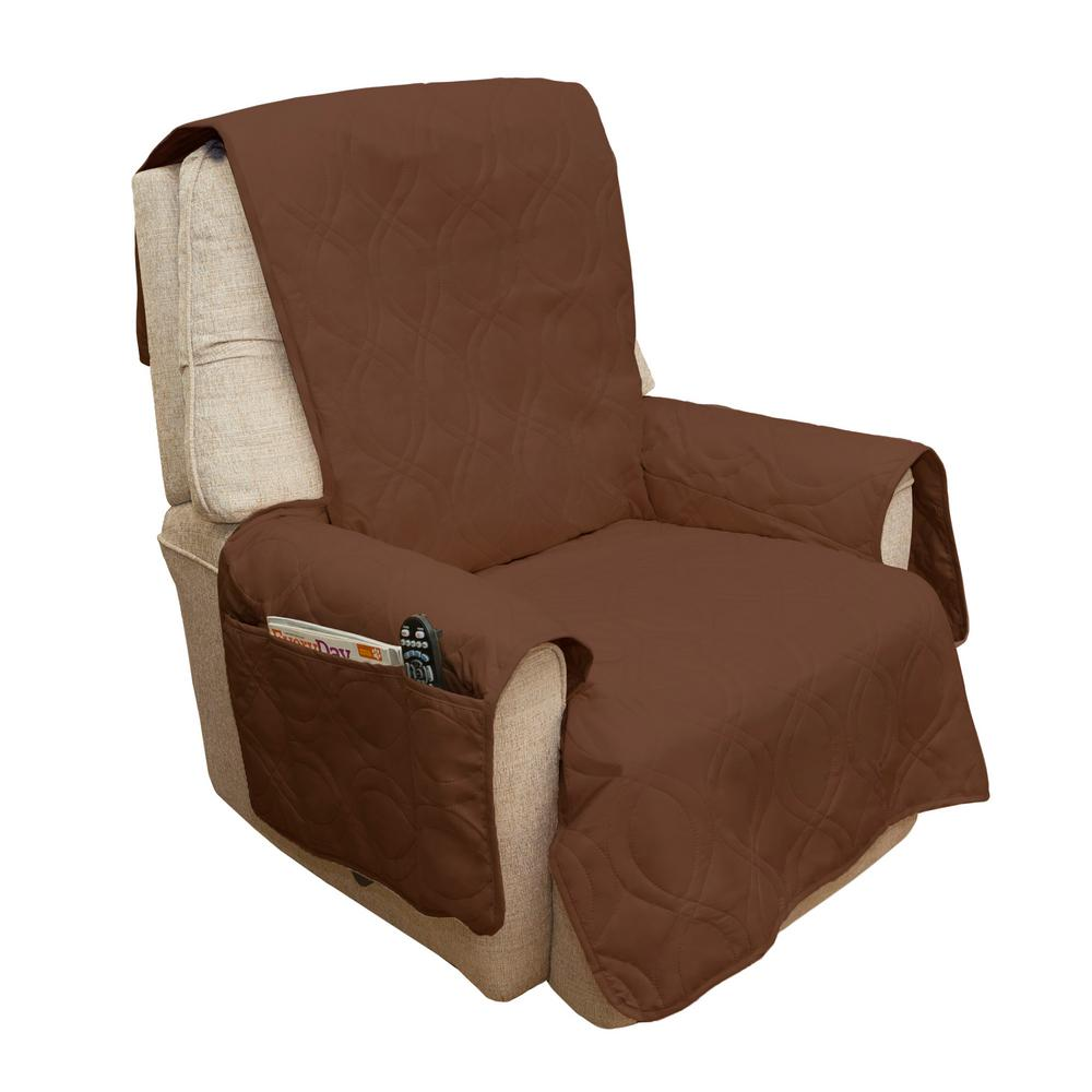 3 Pocket Recliner Chair Slip Cover Sofa Slipcover Pet Protector Boy Lazy Brown T