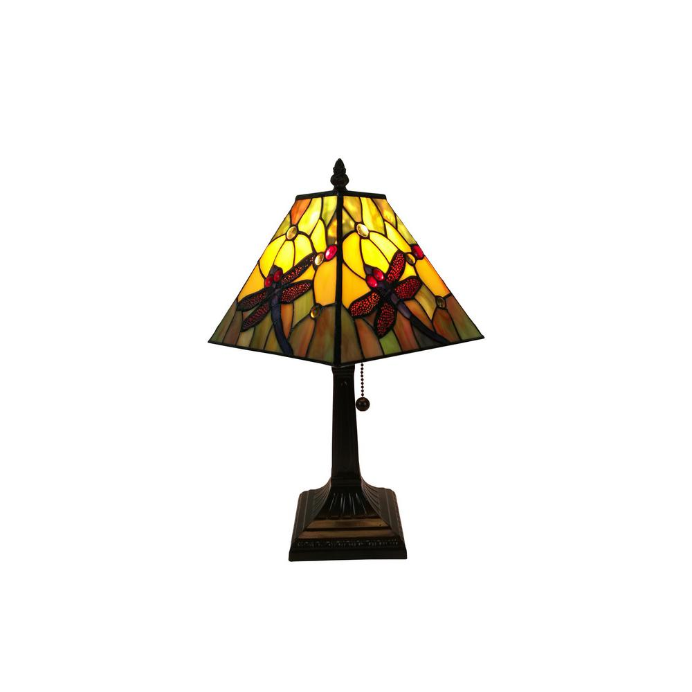 14.5 in. Multicolored Tiffany Style Dragonfly Table Lamp