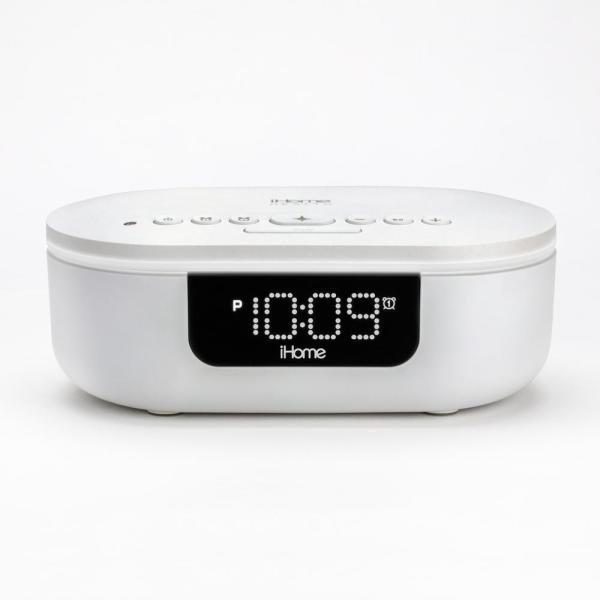 UV-C White Sanitizer Dual Alarm Clock with Bluetooth Speaker and USB Charging
