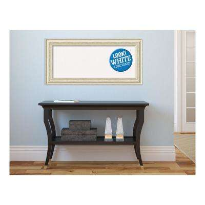 Country White Wash Wood 35 in. x 17 in. Framed White Cork Memo Board