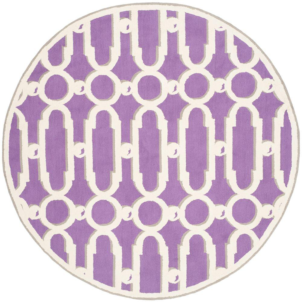 Safavieh Newport Purple/White 6 ft. x 6 ft. Round Area Rug