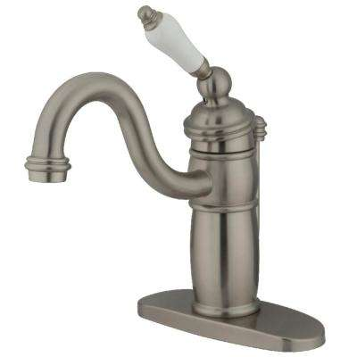 Victorian Single Hole Single-Handle Bathroom Faucet in Brushed Nickel