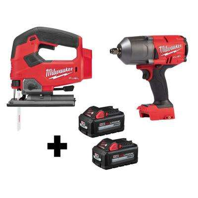 M18 FUEL 18-Volt Lithium-Ion Brushless Cordless Jig Saw and 1/2 in. Impact Wrench with (2) 6.0Ah Batteries