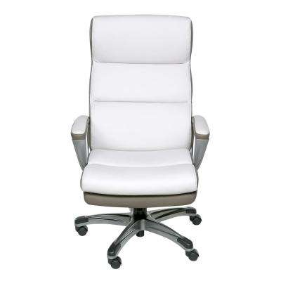 White and Black Executive Chair with Padded Armrests