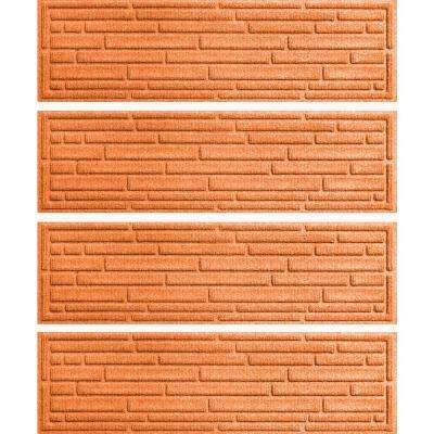 Orange 8.5 in. x 30 in. Broken Brick Stair Tread Cover (Set of 4)