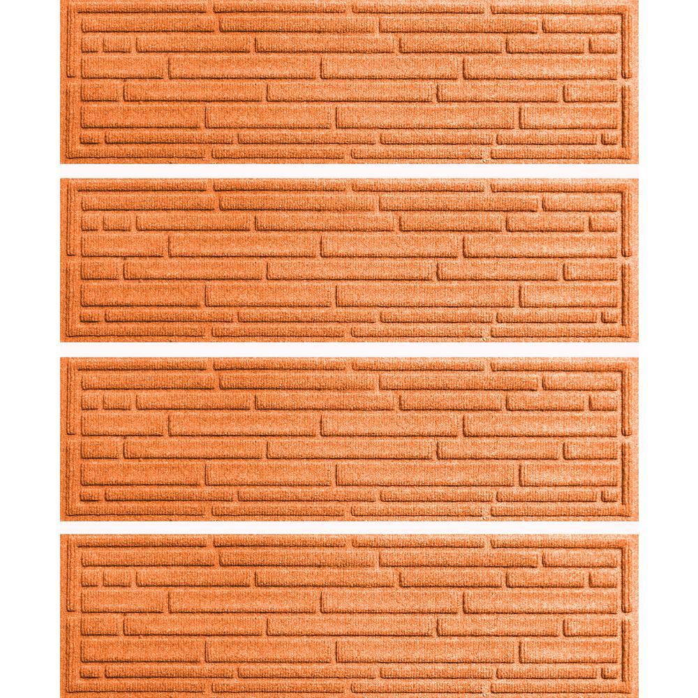 Orange 8.5 in. x 30 in. Broken Brick Stair Tread Cover (Set of 4)