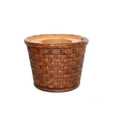 17 in. x 17 in. x 13 in. H Brown Weave Fiberstone Planter