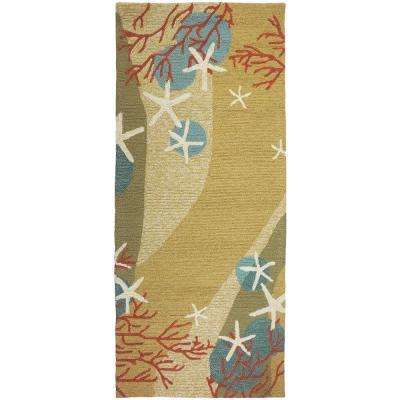 Coral Waves Beige 2 ft. x 5 ft. Indoor/Outdoor Runner Rug