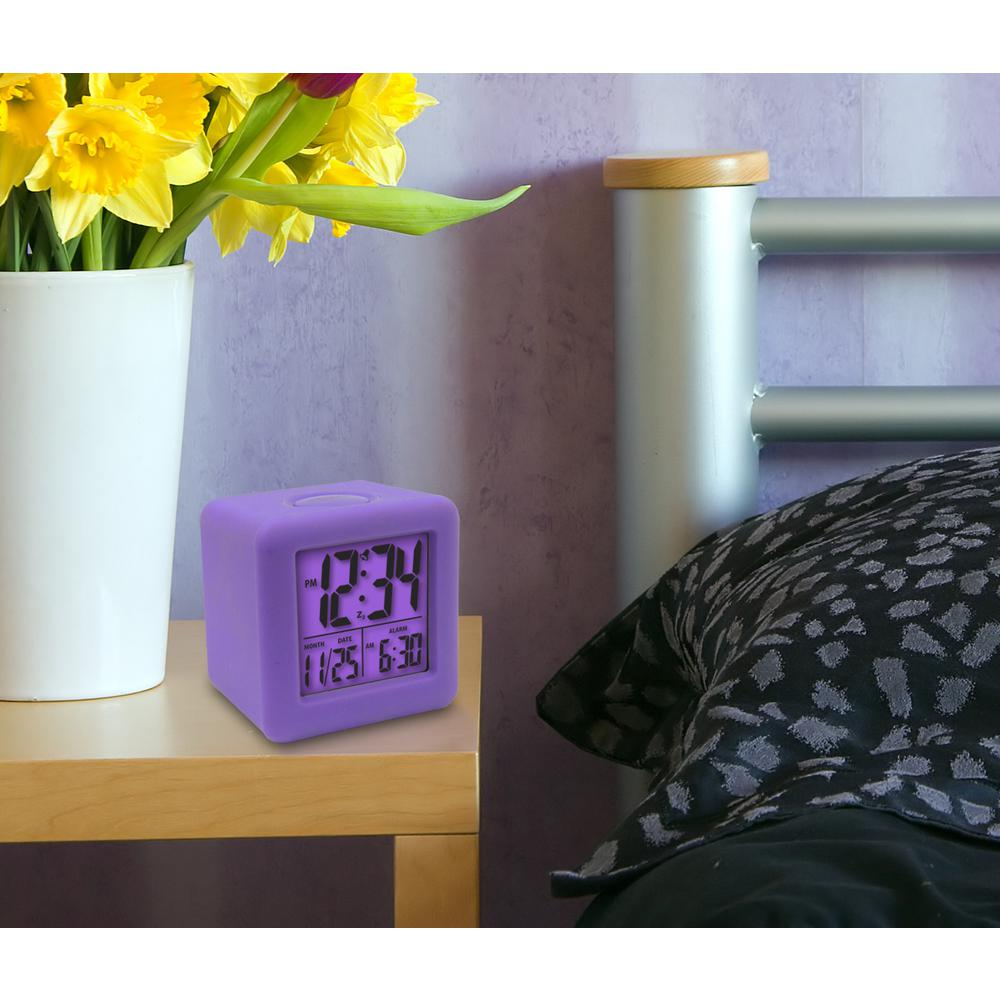 La Crosse Technology 3-1/4 in. x 3-1/4 in. Soft Purple Cube LCD Digital Alarm Clock