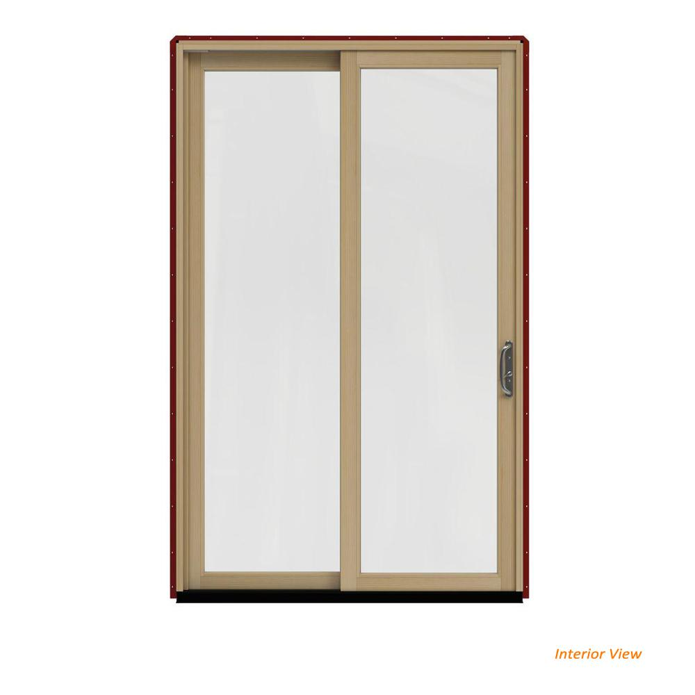 JELD-WEN 60 in. x 96 in. W-2500 Contemporary Red Clad Wood Left-Hand Full Lite Sliding Patio Door w/Unfinished Interior