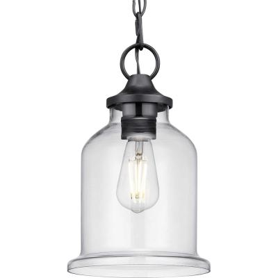 Lindberry 1-Light Textured Black Outdoor Pendant Light with Clear Glass