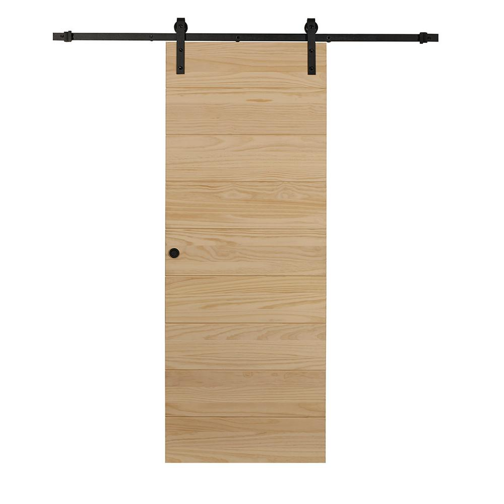 calhome 36 in  x 84 in  coffee brown knotty pine finished wood barn door with bronze bent strap