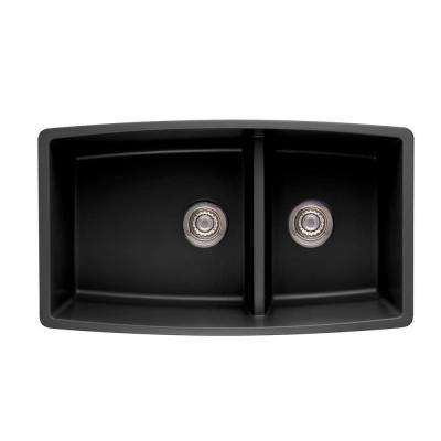 Performa Undermount Granite Composite 33 in. 0-Hole Double Bowl Kitchen Sink in Anthracite