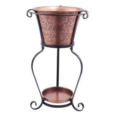 19-3/4 in. x 32 in. Solid Cooper Etched Beverage Tub with Stand