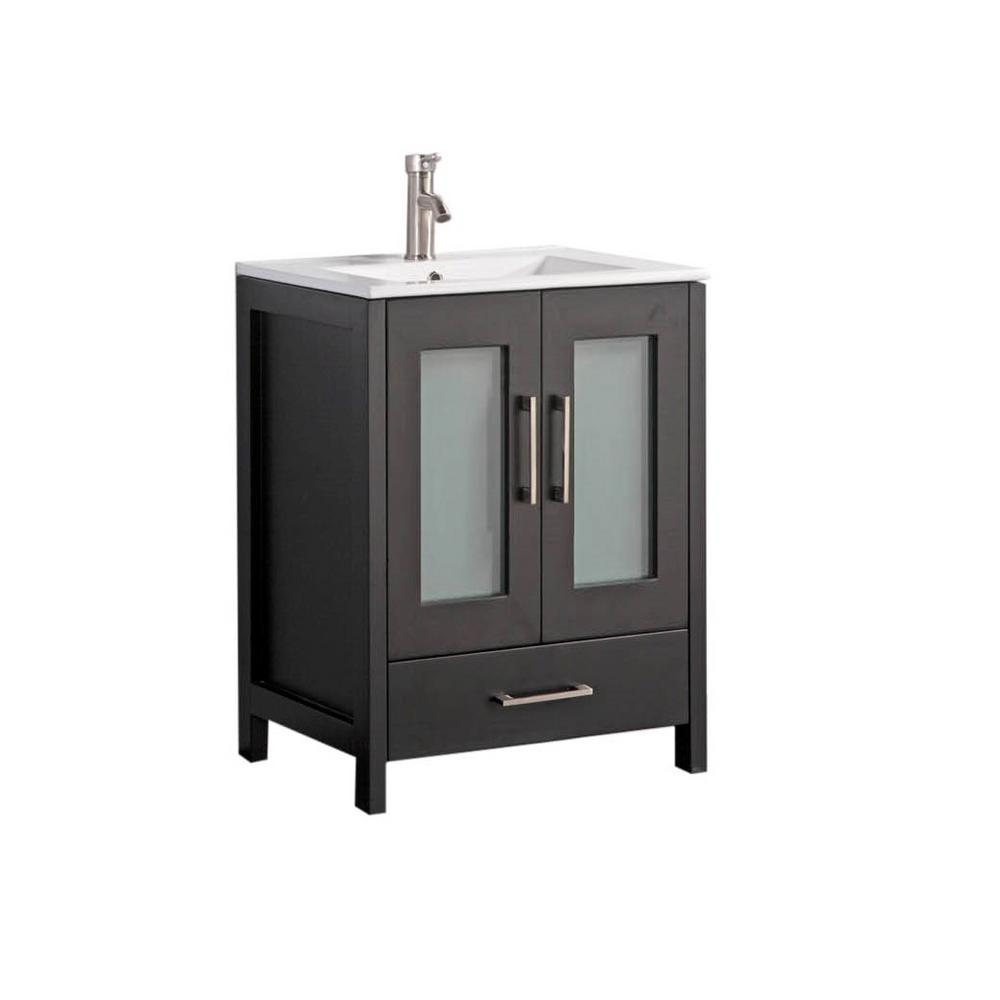 MTD Vanities Arezzo 36 in. W x 18 in. D x 36 in. H Vanity in Espresso with Porcelain Vanity Top in White with White Basin