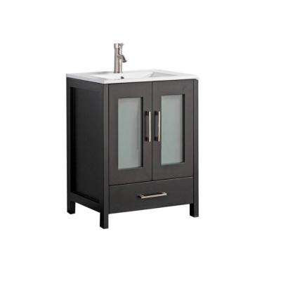 Arezzo 36 in. W x 18 in. D x 36 in. H Vanity in Espresso with Porcelain Vanity Top in White with White Basin