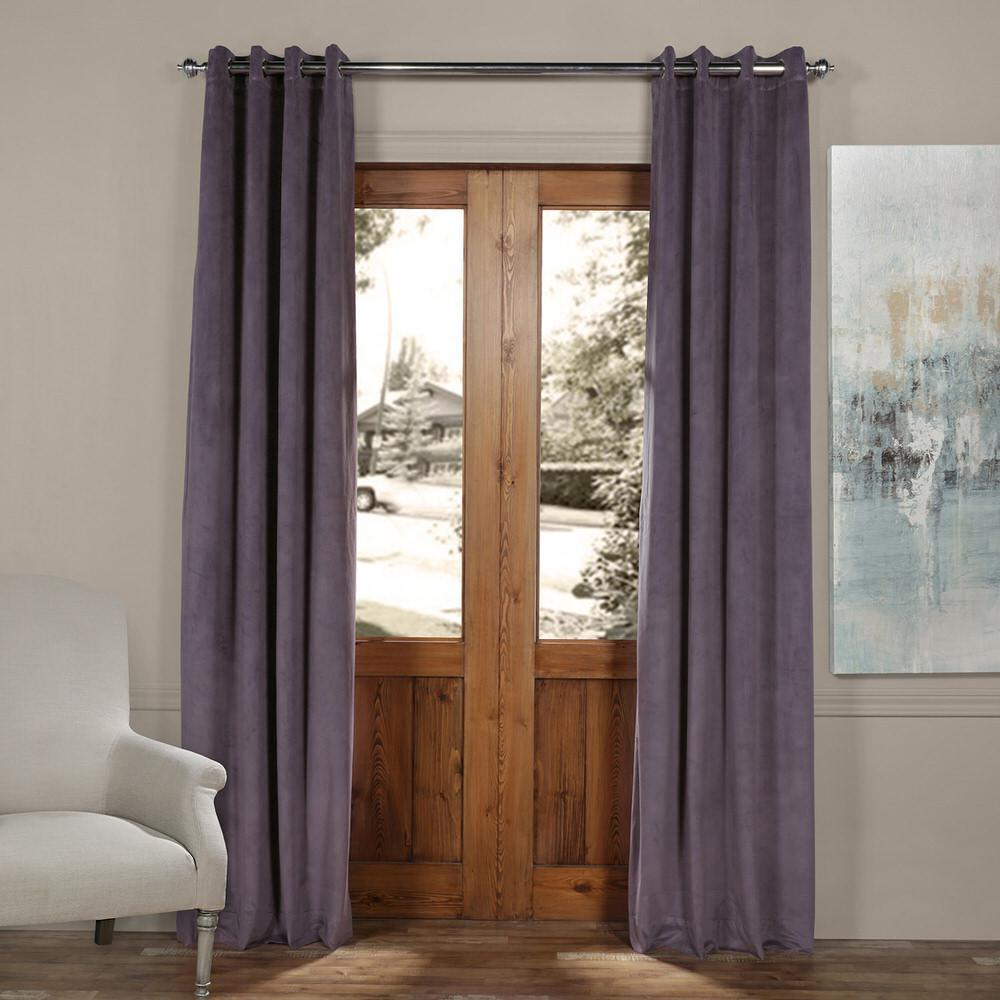 Exclusive Fabrics Furnishings Blackout Signature Fresh Purple Grommet Blackout Velvet Curtain
