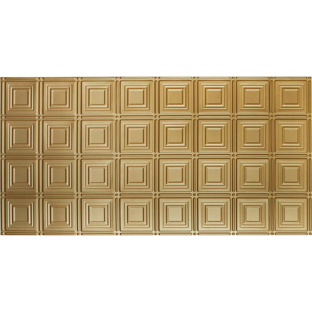 Global Specialty Products Dimensions Faux 2 ft. x 4 ft. Glue-up Tin Style Brass Ceiling Tile for Surface Mount