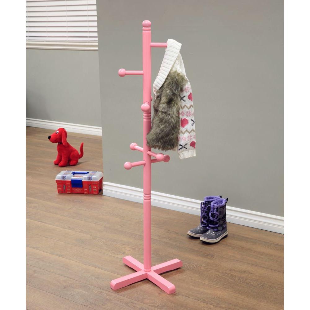 8-Hook Kid's Coat Rack in Pink